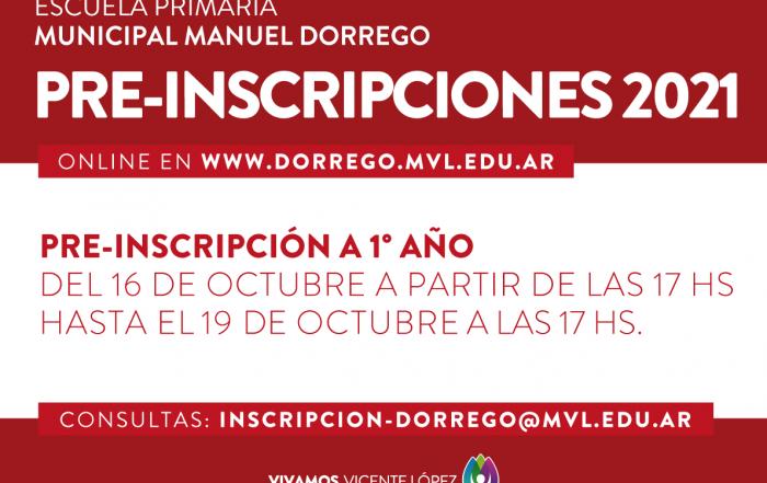 """Escuela Primaria """"Manuel Dorrego"""" ► #PRE-INSCRIPCIÓN ONLINE A 1° AÑO 2021"""