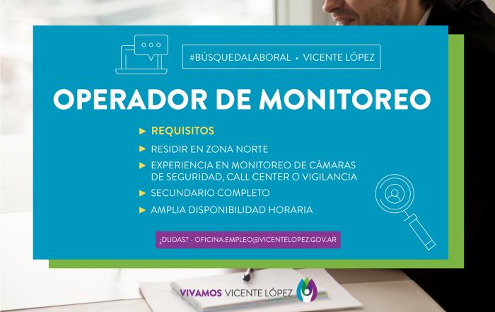 #BúsquedaLaboral ► OPERADOR DE MONITOREO