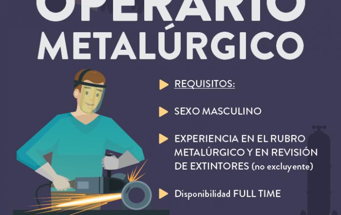 #BúsquedaLaboral ► OPERARIO METALÚRGICO