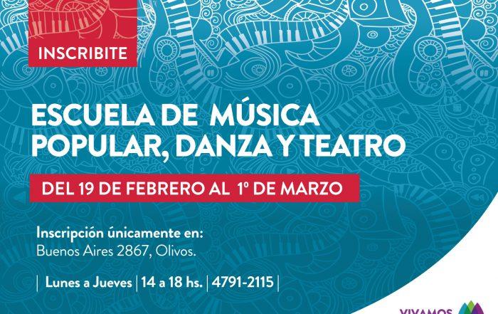 Inscripciones a la Escuela de Música Popular, Danza y Teatro 2018